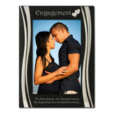 Engagement - Silver Plated, Black and Silver Photo Frame - engraving-gallery.com