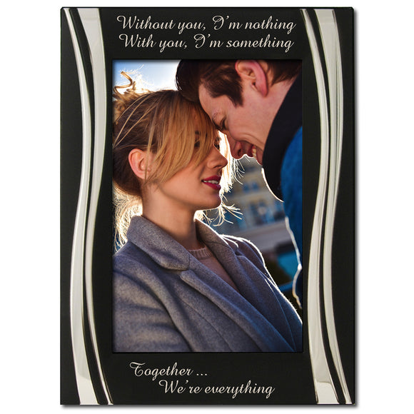 Without You I'm Nothing - Silver Plated, Black and Silver Photo Frame - engraving-gallery.com