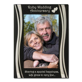 Ruby Wedding Anniversary - Silver Plated, Black and Silver Photo Frame - engraving-gallery.com