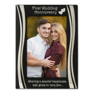 First Wedding Anniversary - Silver Plated, Black and Silver Photo Frame - engraving-gallery.com