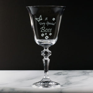 Boss - A Very Special Boss  - Engraved Crystal Wine Glass
