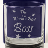 The World's Best Boss - Engraved Whisky Tumbler Glass - engraving-gallery.com