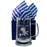The World's Best Bowler - Engraved Tankard Beer Pint Glass - engraving-gallery.com