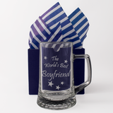 The World's Best Boyfriend - Engraved Tankard Beer Pint Glass - engraving-gallery.com
