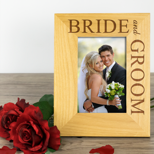 Bride and Groom - Engraved Wood Photo Frame - engraving-gallery.com