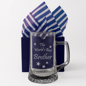 The World's Best Brother - Engraved Tankard Beer Pint Glass - engraving-gallery.com