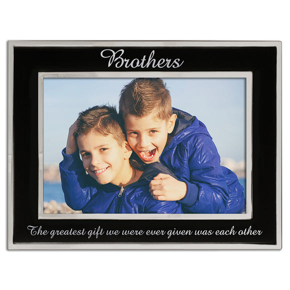 Brothers - Silver Plated, Black and Silver Photo Frame - engraving-gallery.com