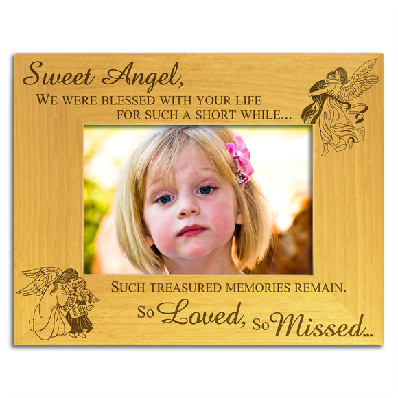 Sweet Angel, Child Bereavement- Engraved Solid Wood Photo Frame - engraving-gallery.com