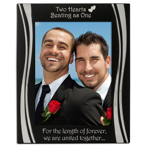 Civil Partnership - Silver Plated, Black and Silver Photo Frame - engraving-gallery.com