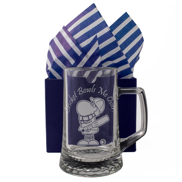 Cricket Bowls Me Over! - Engraved Tankard Beer Pint Glass - engraving-gallery.com