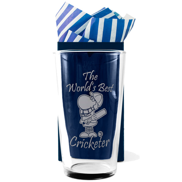 Cricket - The World's Best  Cricketer - Engraved Beer Pint Glass - engraving-gallery.com
