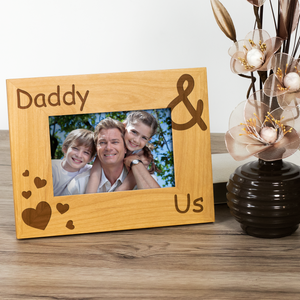 Daddy and Us - Engraved Wood Photo Frame - engraving-gallery.com