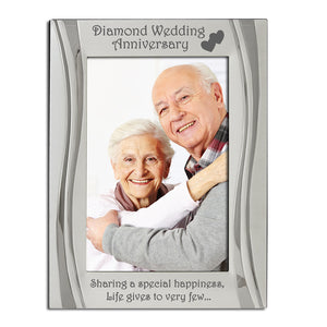 Diamond Wedding Anniversary - Silver Plated, Silver Photo Frame - engraving-gallery.com