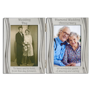 60th Diamond Wedding Anniversary - Double Silver Plated, Matt and Gloss Silver Frame - engraving-gallery.com