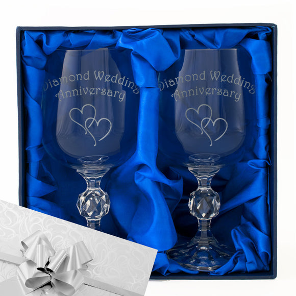 60th Diamond Wedding Anniversary - Engraved Pair of Wine Goblets - engraving-gallery.com