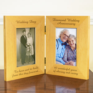 60th Diamond Wedding Anniversary, Double Wooden Photo Frame, Free Standing And Hinged Solid Wood, with Gift Wrap Sheet and Bow