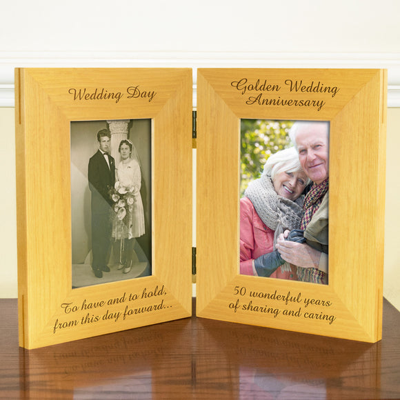 50th Golden Wedding Anniversary, Double Wooden Photo Frame, Free Standing And Hinged Solid Wood, with Gift Wrap Sheet and Bow