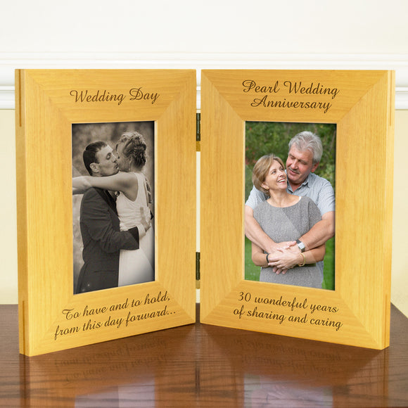 30th Pearl Wedding Anniversary, Double Wooden Photo Frame , Free Standing And Hinged Solid Wood, with Gift Wrap Sheet and Bow