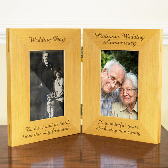 70th Platinum Wedding Anniversary, Double Wooden Photo Frame, Free Standing And Hinged Solid Wood, with Gift Wrap Sheet and Bow