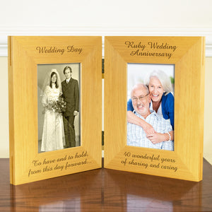 40th Ruby Wedding Anniversary, Double Wooden Photo Frame, Free Standing And Hinged Solid Wood, with Gift Wrap Sheet and Bow