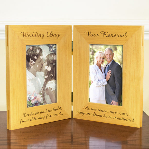Wedding Vow Renewal, Double Wooden Photo Frame, Free Standing And Hinged Solid Wood, with Gift Wrap Sheet and Bow