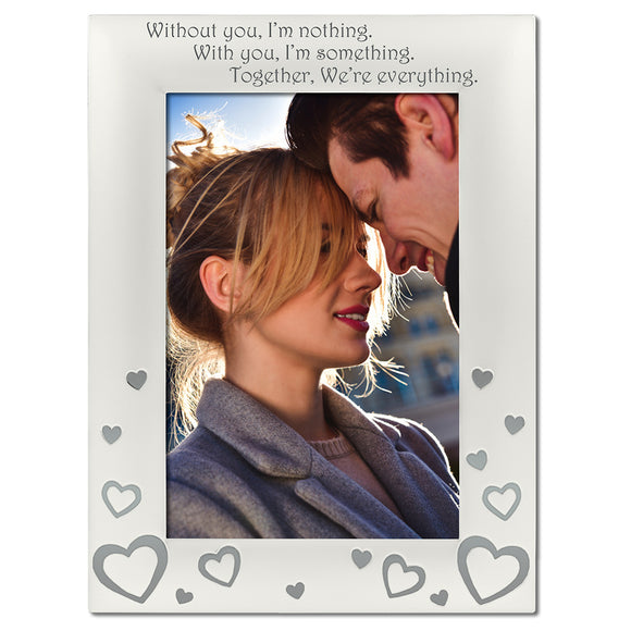 Without You I'm Nothing Hearts - Silver Plated Love Hearts Photo Frame - engraving-gallery.com