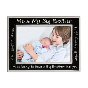 Me and My Big Brother - Silver Plated, Black and Silver Photo Frame - engraving-gallery.com