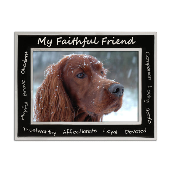 Dog My Faithful Friend - Silver Plated, Black and Silver Photo Frame - engraving-gallery.com