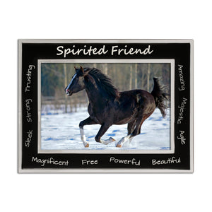 Horse Spirited Friend - Silver Plated, Black and Silver Photo Frame - engraving-gallery.com