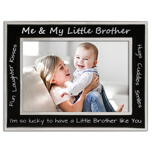 Me and My Little Brother - Silver Plated, Black and Silver Photo Frame - engraving-gallery.com