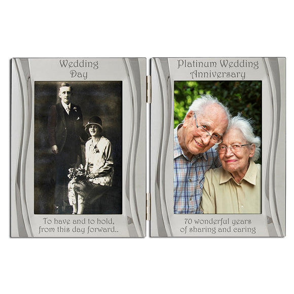 70th Platinum Wedding Anniversary - Double Silver Plated, Matt and Gloss Silver Frame - engraving-gallery.com