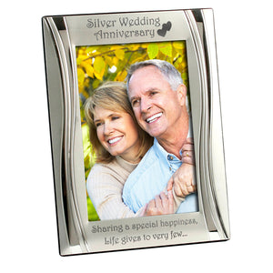 Silver Wedding Anniversary - Silver Plated, Silver Photo Frame - engraving-gallery.com