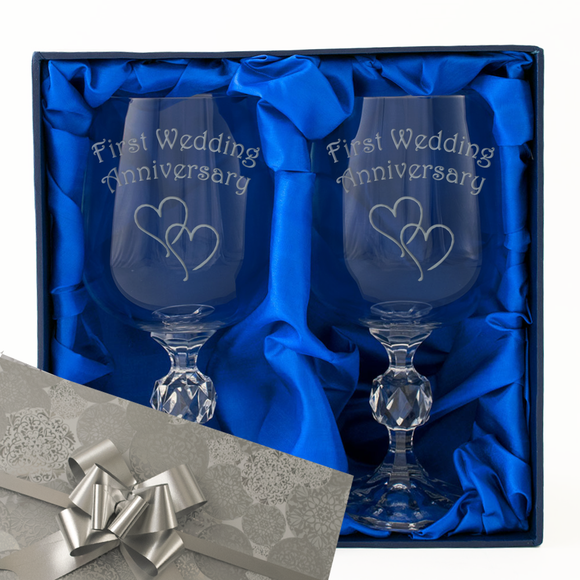 1st First Wedding Anniversary - Engraved Pair of Wine Goblets - engraving-gallery.com