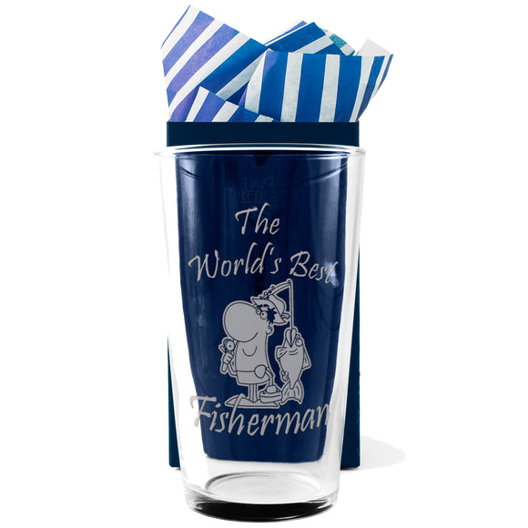 Fishing - The World's Best Fisherman - Engraved Beer Pint Glass - engraving-gallery.com