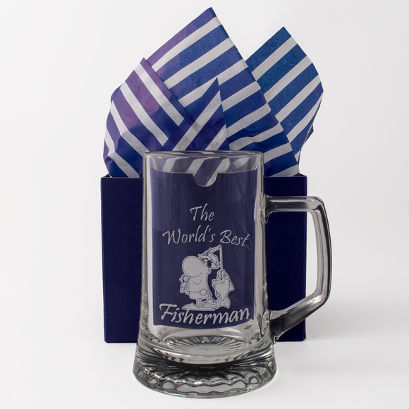 The World's Best Fisherman - Engraved Tankard Beer Pint Glass - engraving-gallery.com