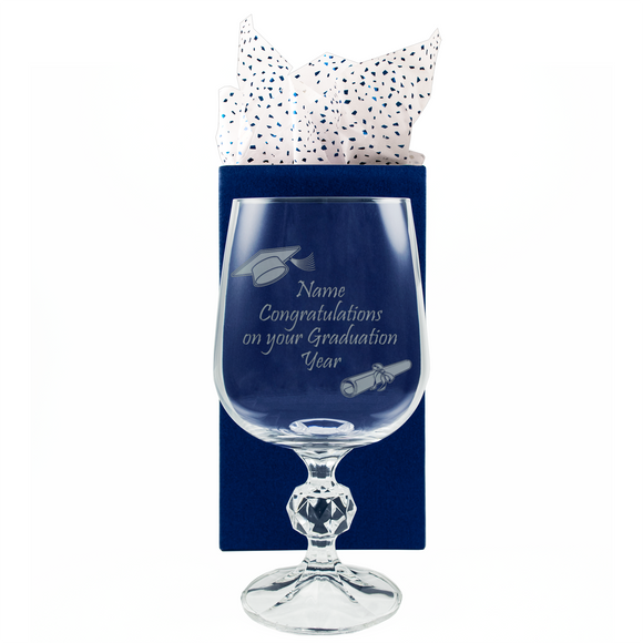 Congratulations on your Graduation - Personalised Glass Wine Goblet - engraving-gallery.com
