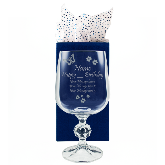 Butterfly Age Birthday - Personalised Glass Wine Goblet - engraving-gallery.com