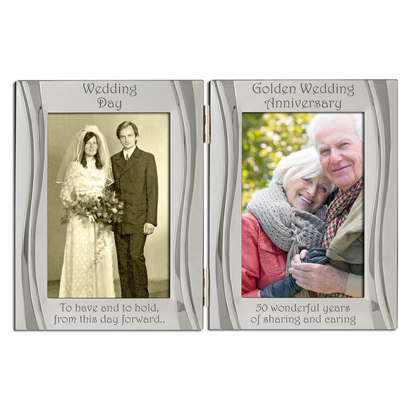 50th Golden Wedding Anniversary - Double Silver Plated, Matt and Gloss Silver Frame - engraving-gallery.com