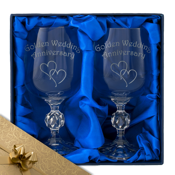50th Golden Wedding Anniversary - Engraved Pair of Wine Goblets - engraving-gallery.com
