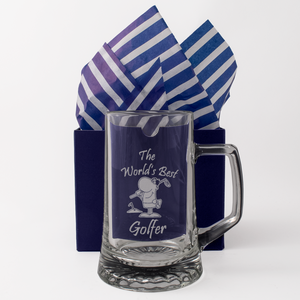 The World's Best Golfer - Engraved Tankard Beer Pint Glass - engraving-gallery.com