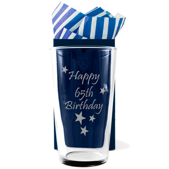 65th - Happy 65th Birthday - Engraved Beer Pint Glass - engraving-gallery.com