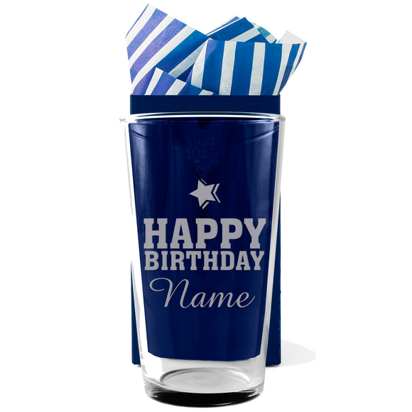 Birthday Star Design - Personalised Modern Beer Pint Glass - engraving-gallery.com