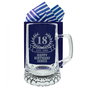 Birthday Wreath - Personalised Beer Pint Glass - engraving-gallery.com