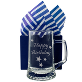 Happy Birthday - Engraved Tankard Beer Pint Glass - engraving-gallery.com