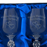 Happy Wedding Anniversary - Engraved Pair of Wine Goblets - engraving-gallery.com