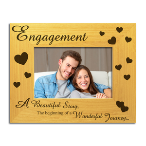 Engagement - Engraved Solid Wood Photo Frame - engraving-gallery.com