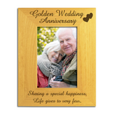 Golden 50th Wedding Anniversary - Engraved Solid Wood Photo Frame - engraving-gallery.com