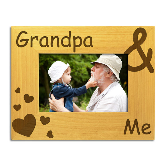 Grandpa and Me - Engraved Solid Wood Photo Frame - engraving-gallery.com