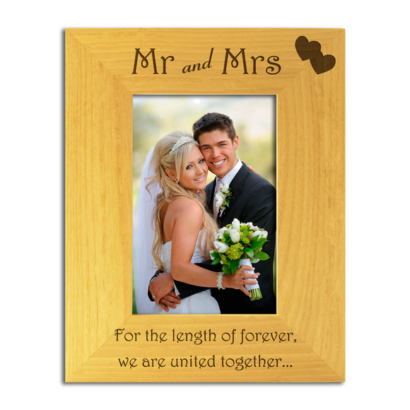 Mr and Mrs - Engraved Solid Wood Photo Frame - engraving-gallery.com