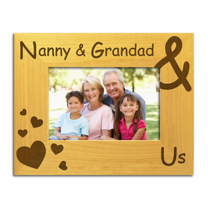 Nanny & Grandad & Us - Engraved Wood Photo Frame - engraving-gallery.com